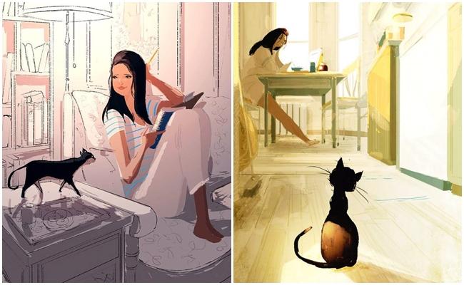 Kedilerle Yaşayan Kadınları Çizgilere Yansıtan Çizerin 21 Büyüleyici Çalışması
