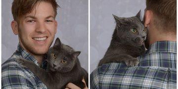 Çok Sevdiği Kedisiyle Profesyonel Nişan Fotoğrafları Çektiren Aşk Dolu Çocuk