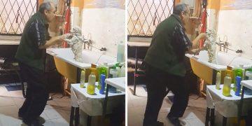 Dünyanın En Tatlı Banyo Partisi: Yıkanmaya Gelen Köpekle Dans Eden Adam