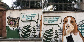 Kadıköy'de Yaşayan Sokak Hayvanları Graffiti Sanatı İle Ölümsüzleştirildi