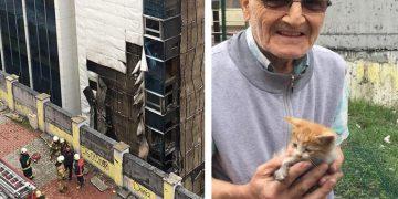 Huzurevi Alev Alev Yanarken Mahsur Kalan Kedileri Kurtarmak İçin Binaya Giren Yavuz Amca